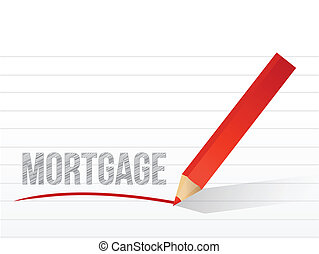 mortgage written on a notepad paper.