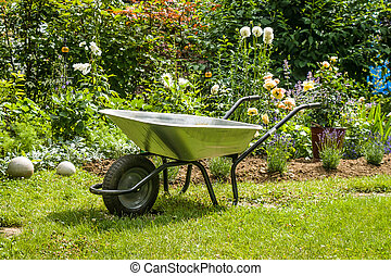Wheelbarrow - Work in garden-wheelbarrow on the front of...