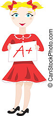 Excellent grade - Vector cartoon clip art of a schoolgirl...