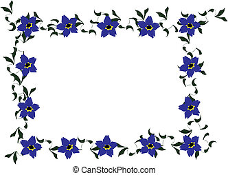 Forget-me-not Floral Border - Cartoon clip art of forget me...