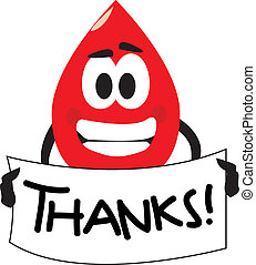 Thank you for your blood donation - Vector cartoon clip art...