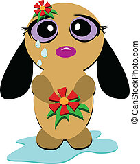 Crying Dog with Tears - This sad Dog is expressing herself....