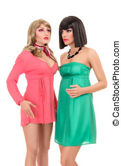 Two young fashion model posing like manequin - Two young...