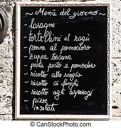 Italian Menu - Tuscany, Italy. A turistic menu exposed on a...