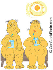 heat wave - old couple cooling down in a heat wave