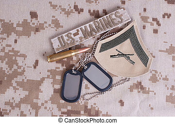 us marines camouflaged uniform with blank dog tags