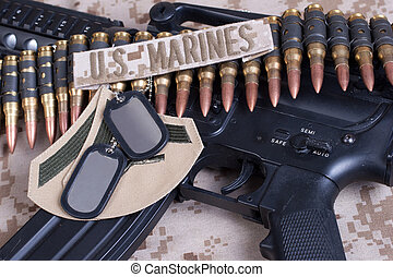 US Marines concept with service tapes, dog tags and...