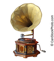 retro old gramophone with horn isolated on white with...