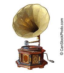 retro, vieux, phonographe, corne, isolé, blanc,...