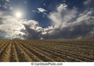 plowed field - A plowed field on a background of blue sky...