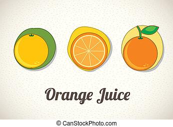 orange juice over beige background vector illustration