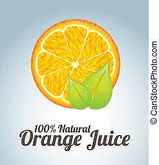 orange juice  over blue background vector illustration