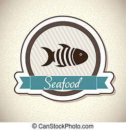 sea food over vintage background vector illustration