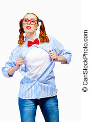 Teenager girl in red glasses acting like superhero