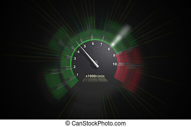 engine speeds - auto tachometer on black background. green...