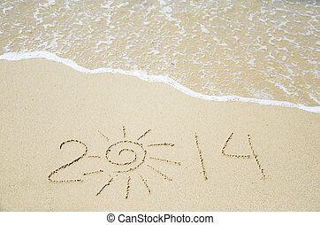 Number 2014 on the sand - holiday concept - Number 2014 on...
