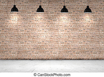 Blank brick wall with place for text illuminated by lamps...