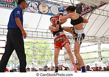 Thai boxing match - AYUTTHAYA, THAILAND- MARCH 17 : Thai...