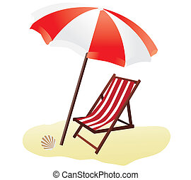 beach - vector beach umbrella and chair