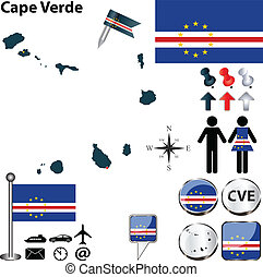 Map of Cape Verde - Vector of Cape Verde set with detailed...