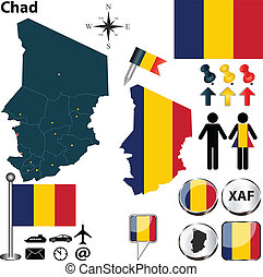 Map of Chad - Vector of Chad set with detailed country shape...