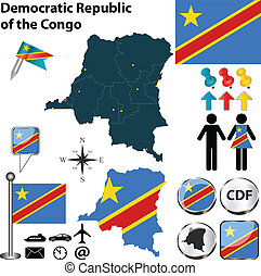 Map of Democratic Republic of the Congo - Vector of...