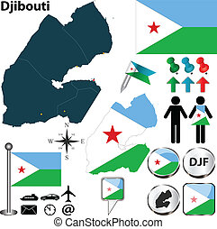 Map of Djibouti - Vector of Djibouti set with detailed...