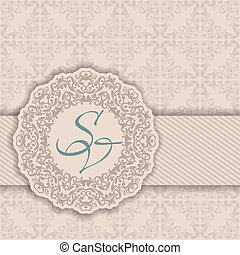 Seamless damask background with a circular pattern