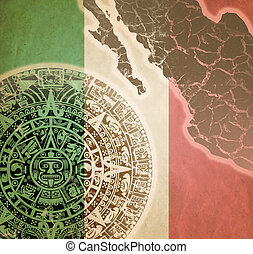 Background with Mayan calendar - Background in American...