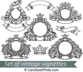 Set of vintage emblem with crowns and ribbons.