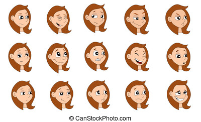 Cartoon girl expressions collection - Illustration set of a...