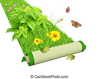 Go green - Carpet with bright green grass and flowers....
