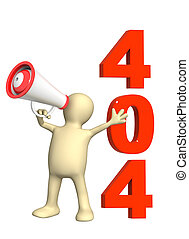 Error 404 - 3d puppet with megaphone Isolated over white