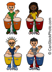 Mannen, Percussionists, spelend, congas