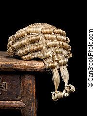 Judges wig closeup - Closeup of a genuine judges wig on an...