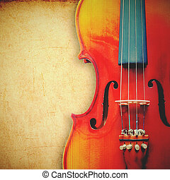 violin on grunge background with retro filter effect