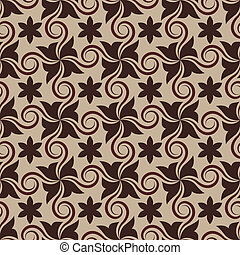 Abstract brown seamless pattern with curls.