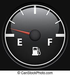 Black fuel gage isolated on black background vector...