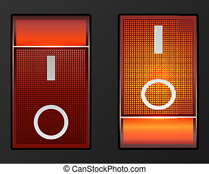 Red light electric switch vector button