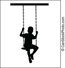 boy on a seesaw silhouette vector illustration