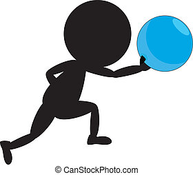 bowling stickman - a stickman playing bowling with white...