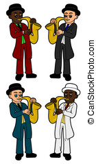 Kids saxophonists collection - Collection of diverse...