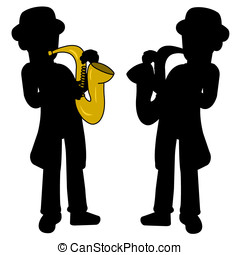 Saxophonist silhouettes isolated on a white background