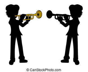 Trumpetist silhouettes - Silhouette of trumpet player...