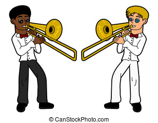 Kids - trombone players - Trombonists isolated on a white...