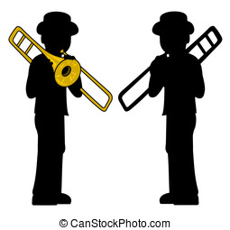 Trombonist silhouettes - Silhouette of trombone player...