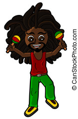 Rastaman playing the maracas - Rasta percussionist playing...