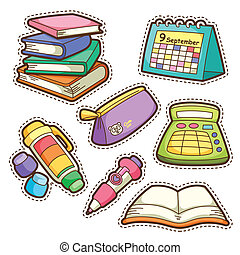 school set set of different school items, vector...
