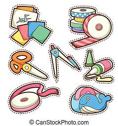 school set. set of different school items, vector...