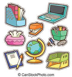 escola, jogo, jogo, diferente, escola, itens